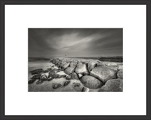 black and white photography rock harbor landscape