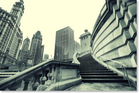 Steps To Mega City Chicago. Black & White photos of Chicago.