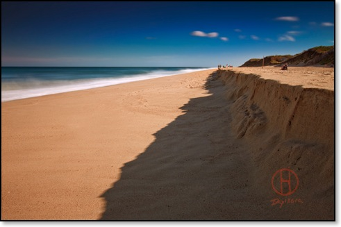 Clear Blue Sky Over Ocean. Beach print on canvas & framed photo print.
