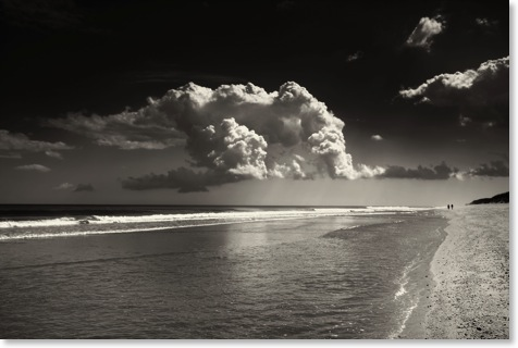 Black and white beach photography: Nautical photos. Cloud reflection at Marconi beach.