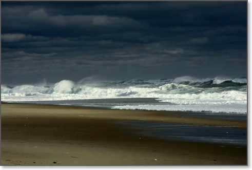 Nauset Beach. Nauset beach scene and waves. Nauset beach, Cape Cod, Massachusetts.