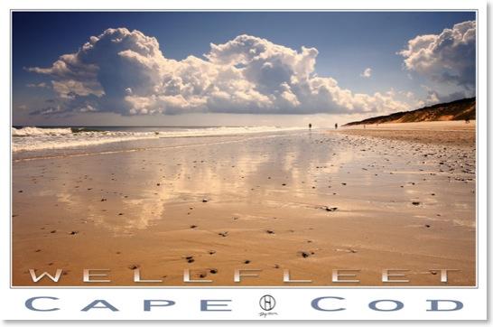Realism landscape posters. Wellfleet Cape Cod realism landscape poster at Wellfleet beach.