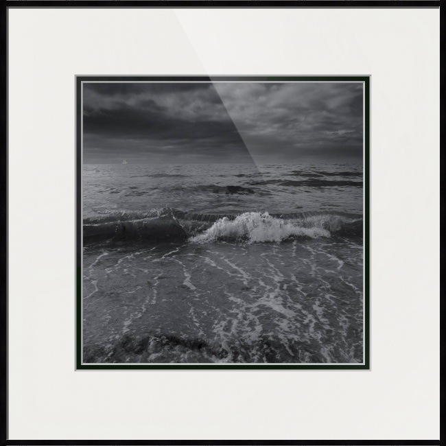 black and white ocean photograph framed print by dapixara