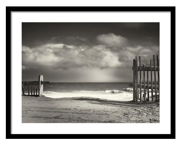 Black and white photography framed prints beach fence