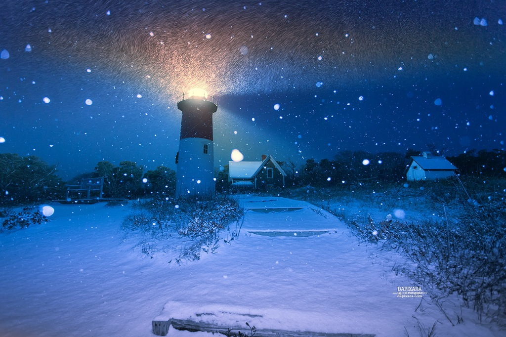 Beautiful fresh snow Today on Nauset Lighthouse in Eastham Cape Cod. Photo by Dapixara https://dapixara.com