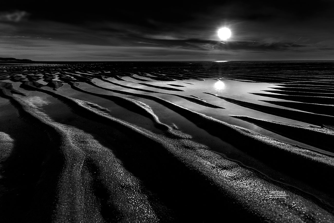 Black and white beach low tide black and white photography print for sale by