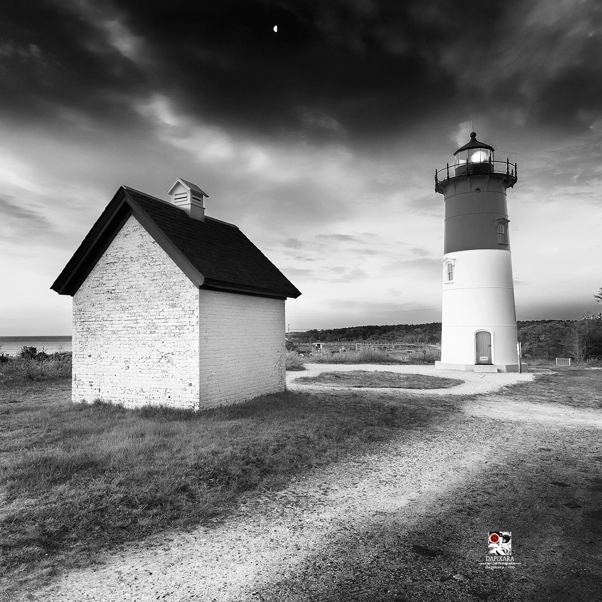 Black and white lighthouse nauset light in eastham massachusetts usa