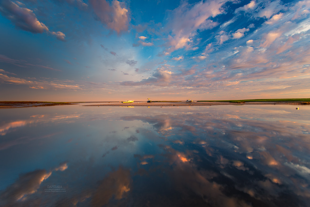 Boat artwork for sale cloud reflections on boat meadow cape cod photography art by