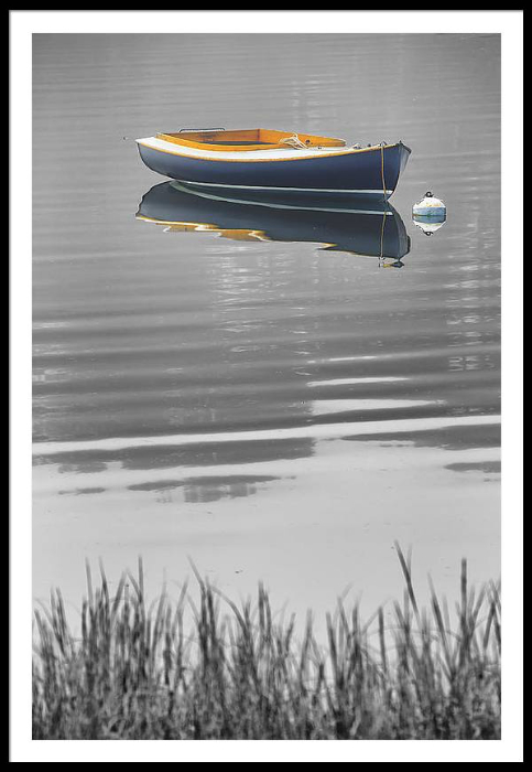 Black and white Boat Framed Art Print
