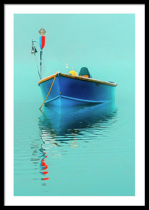 Blue Boat Framed Art Print